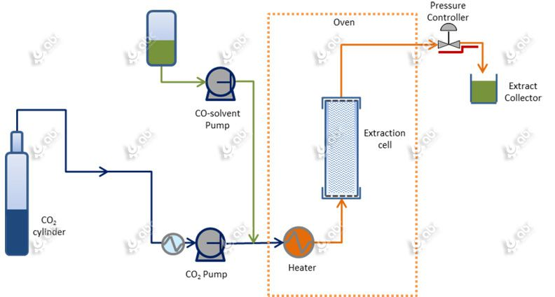 flow chart of supercritical CO2 extraction process